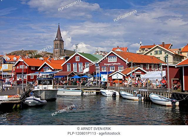 Boats in the harbour of the fishing village Fjällbacka, Bohuslän, Sweden