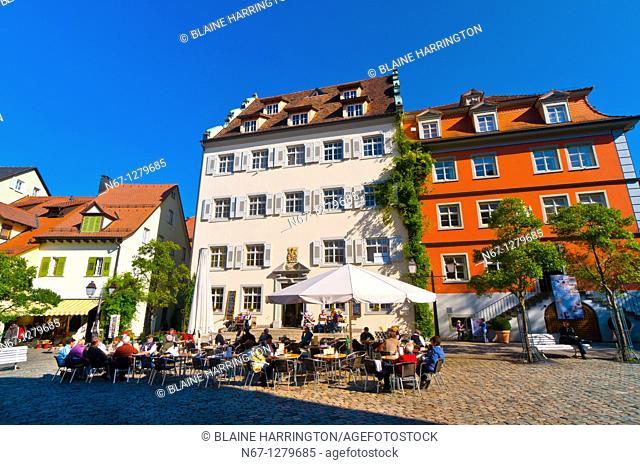 Schlossplatz, the medieval city of Meersburg on Lake Constance Bodensee, Baden-Württemberg, Germany