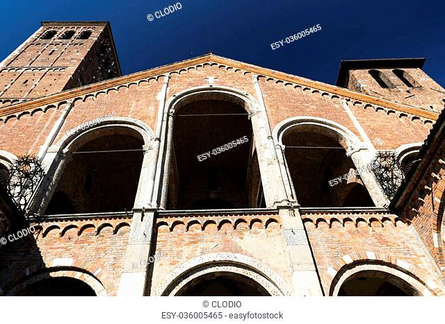 Milan (Lombardy, Italy): the medieval church of Sant'Ambrogio, in Romanesque style. Facade and portico