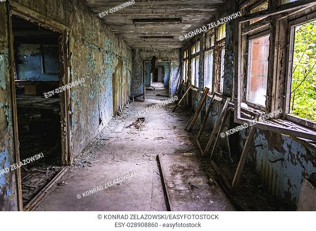 Corridor in High school No 3 in Pripyat ghost city of Chernobyl Nuclear Power Plant Zone of Alienation around nuclear reactor disaster in Ukraine