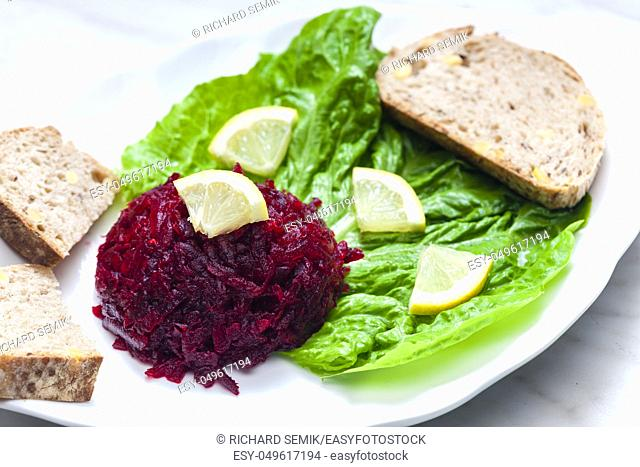 still life of fresh beetroot salad