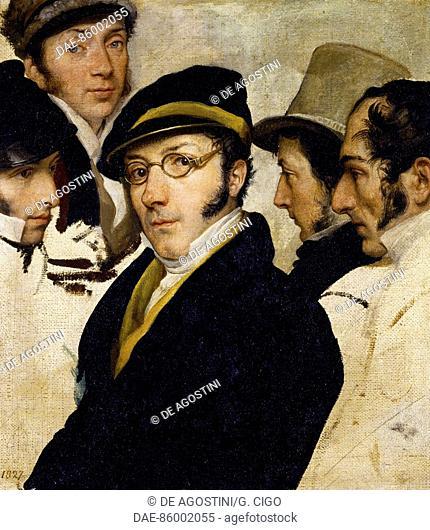 Self-portrait with friends Migliara, Palagi, Grossi, Molteni, by Francesco Hayez (1791-1882), oil on canvas, 43x32 cm.  Private Collection