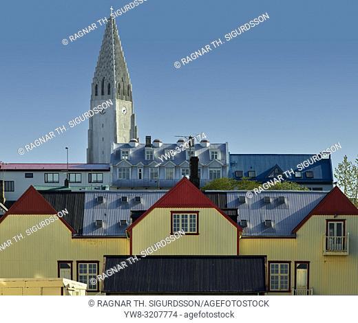 Roof tops and Hallgrimskirkja Church, Reykjavik, Iceland