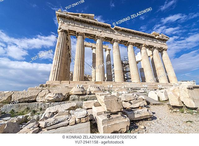Parthenon temple dedicated to the goddess Athena,, part of Acropolis of Athens city, Greece