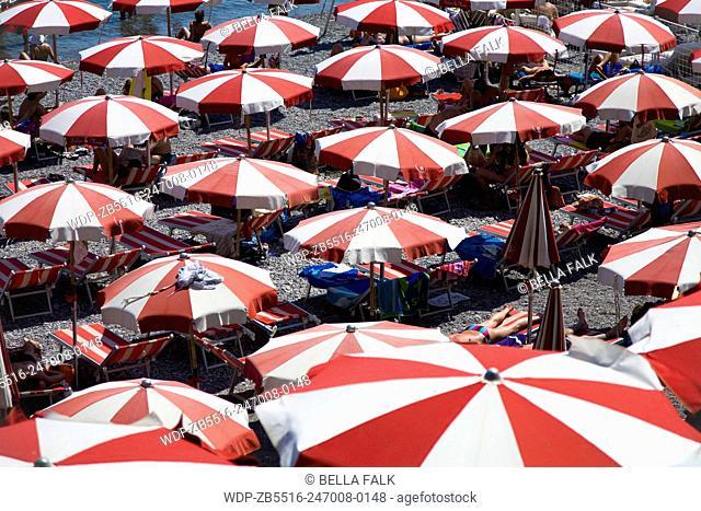 Colourful sun umbrellas on the beach at Atrani, Amalfi Coast, Italy