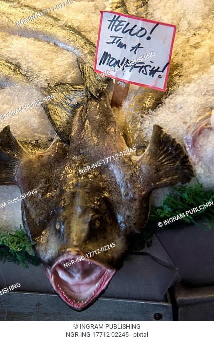 Monkfish on ice for sale at Pike Place Market, Seattle, Washington State, USA