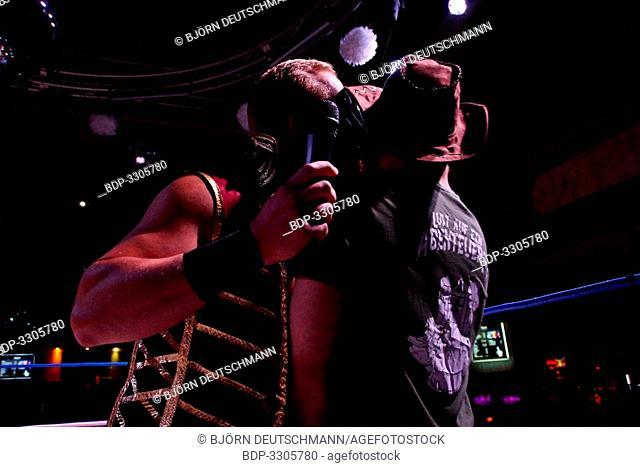 Kiel, Germany - December 08, 2018. American Wrestler Alexander James (w/ Lukas Robinson) vs. Tim Karstens (w/ Fynn Freyhardt & Briggs)