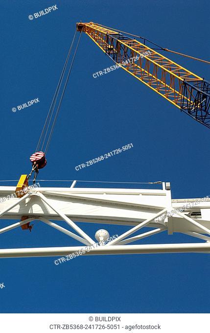 Crane lifting roof truss on to Centre Court, All England Lawn Tennis Club, Wimbledon, London, UK, 2008