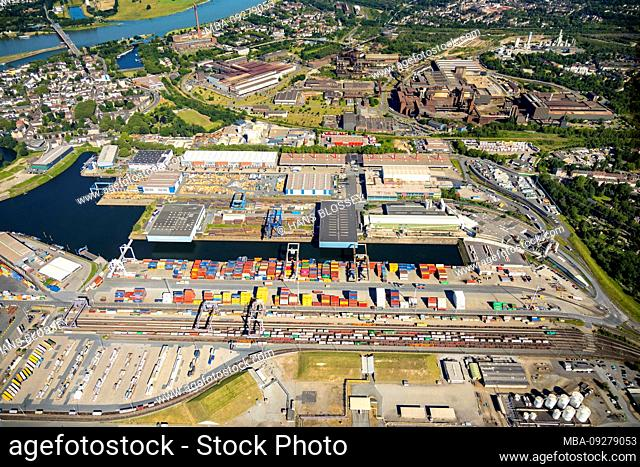 Aerial view of the company Haeger & Schmidt Logistics in Duisburg harbor Duisport AG on the Ruhr with Ruhr mouth in the Rhine in overview and details in Ruhrort...