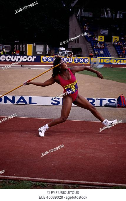 British javelin thrower Tessa Sanderson at Crystal Palace 1996