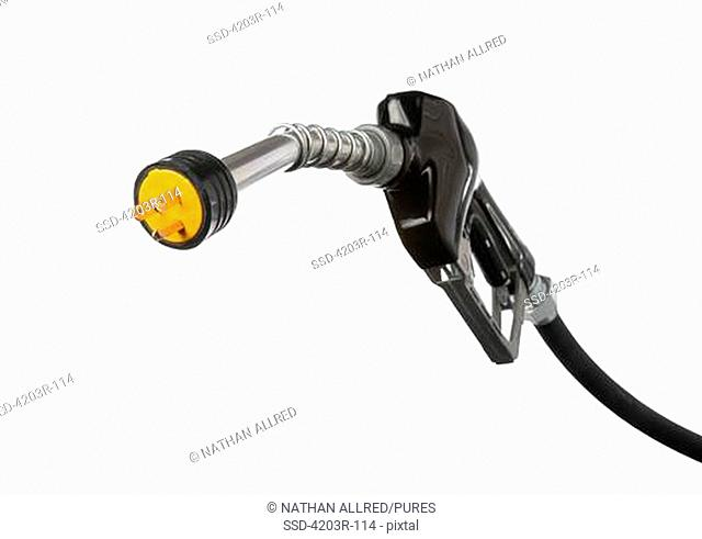 Gas pump nozzle with electric connector on the end cutout