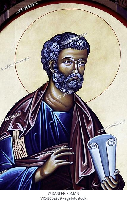 An Orthodox icon depicting Saint Peter. According to New Testament accounts, he was one of Twelve Apostles, chosen by Jesus from his first disciples