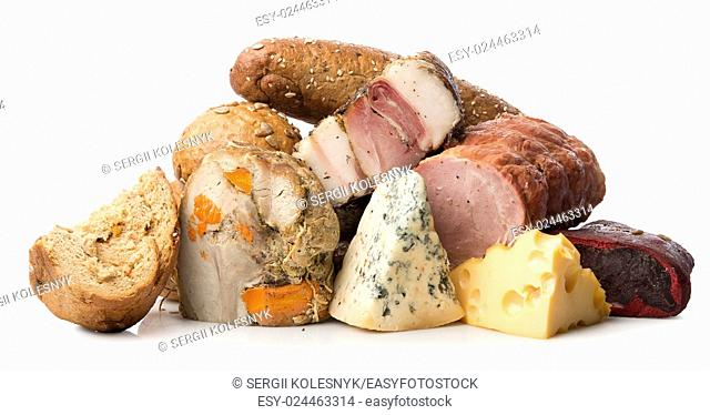 Meat and cheese isolated on a white background