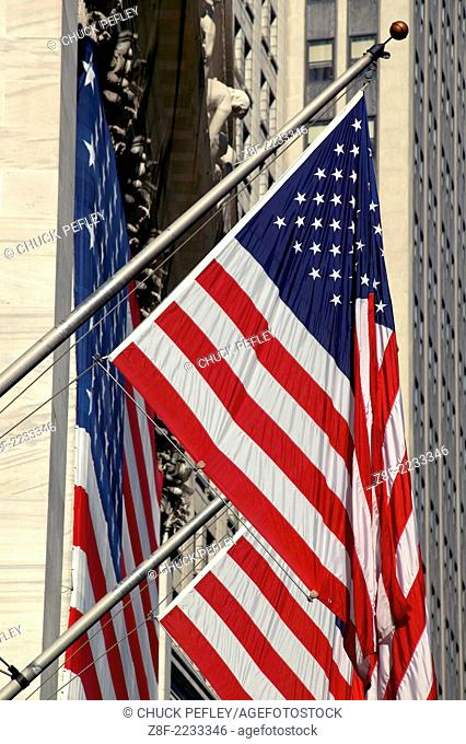 USA flags at the New York Stock Exchange Building on Nassau Street, New York NY