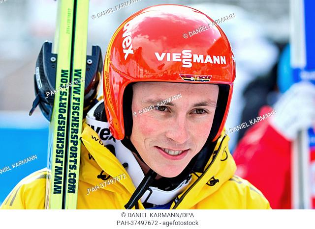 Eric Frenzel of Germany reacts after his jump in the Individual Normal Hill Ski Jumping portion of the Nordic Combined competition at the Nordic Skiing World...