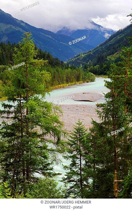 Wild river landscape of the Tyrolean Lech, Austria