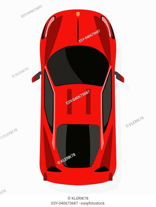 Red sport car, top view in flat style isolated on a white background