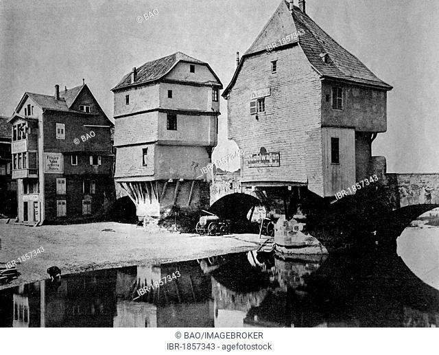 Early autotype of the houses on the old Nahe bridge in Bad Kreuznach, Rhineland-Palatinate, Germany, historical photograph, 1884