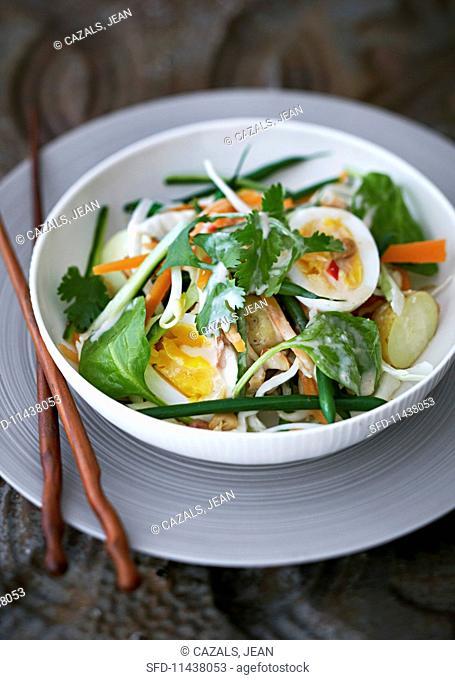 Indonesian vegetable salad with hard-boiled egg