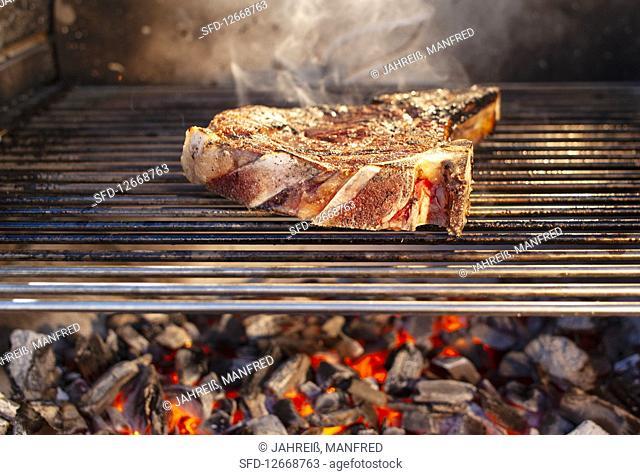 Porterhouse steak on a grill