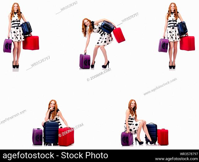 Beautiful woman in polka dot dress with suitcases isolated on white