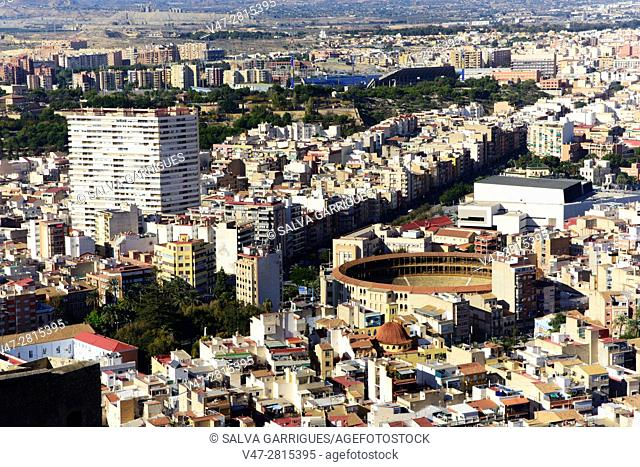View from above of the city of Alicante, Valencia, Spain