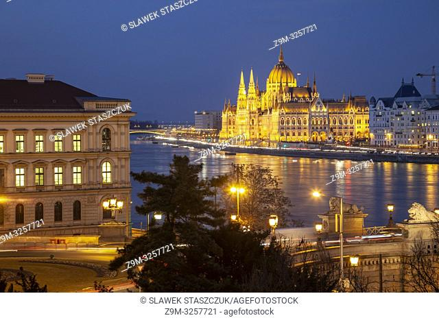 Evening in Budapest, Hungary. Hungarian Parliament seen across the Danube