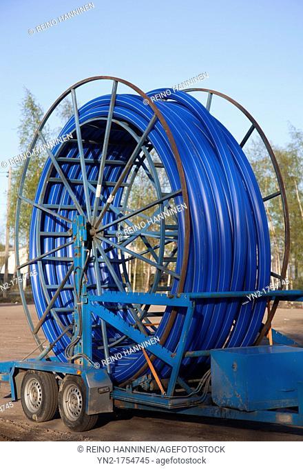 Reel of PVC pipe  Location Oulu Finland Scandinavia Europe