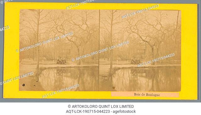View of a lake in Bois de Boulogne in Paris, Bois de Boulogne (title on object), public gardens, park, lake, Bois de Boulogne, anonymous, c. 1850 - c