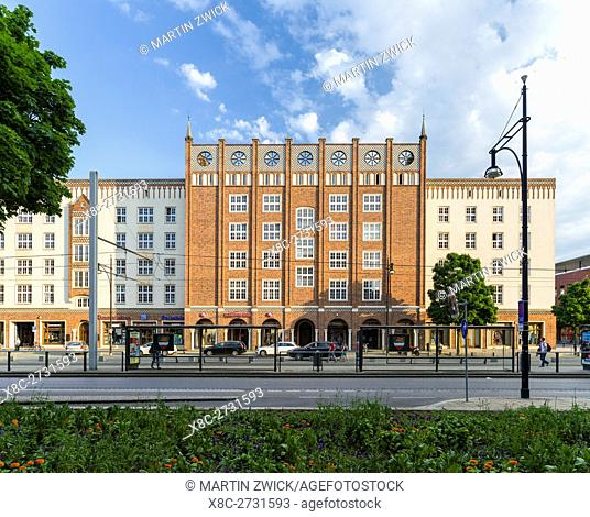 The buildings at the Lange Strasse, a showcase of architecture in the GDR, buildt in the 1950 ies. The hanseatic city of Rostock at the coast of the german...