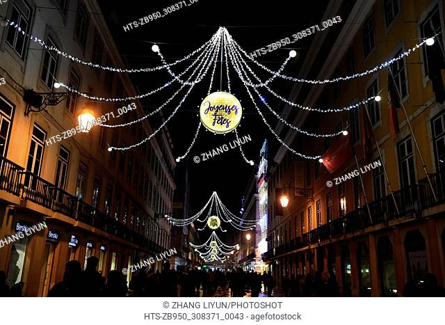 (171202) -- LISBON, Dec. 2, 2017 () -- Photo taken on Dec. 1, 2017 shows illuminations and decorations for the upcoming Christmas in downtown Lisbon, Portugal