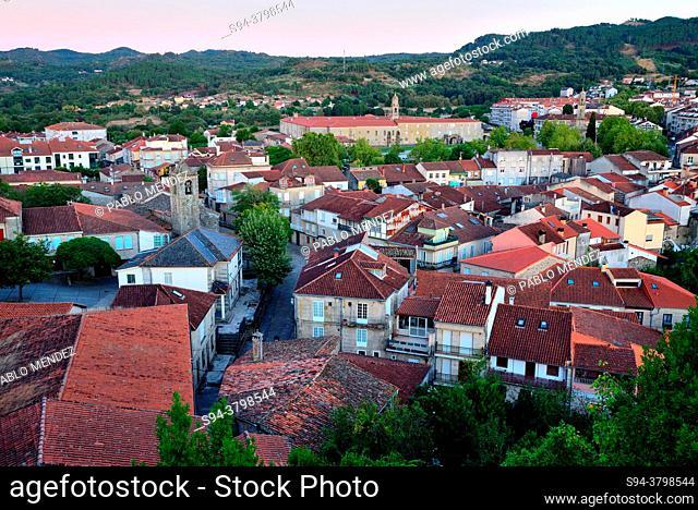 Overlook of the rooves of Allariz from Castelo mount, Allariz, Orense, Spain