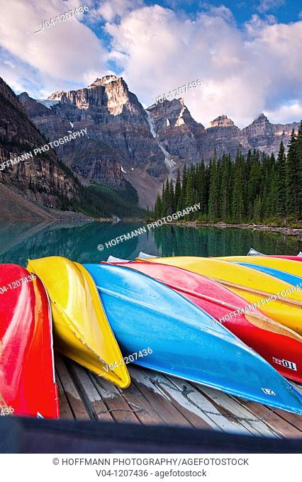 Colorful boats at Moraine Lake in the Banff National Park, Alberta, Canada