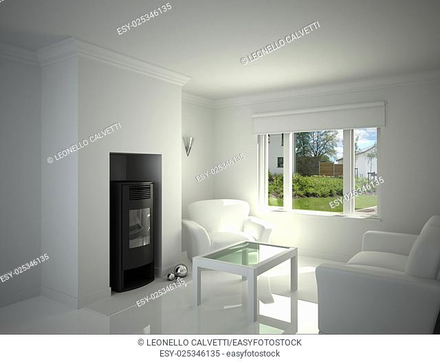 White livingroom, with fire place