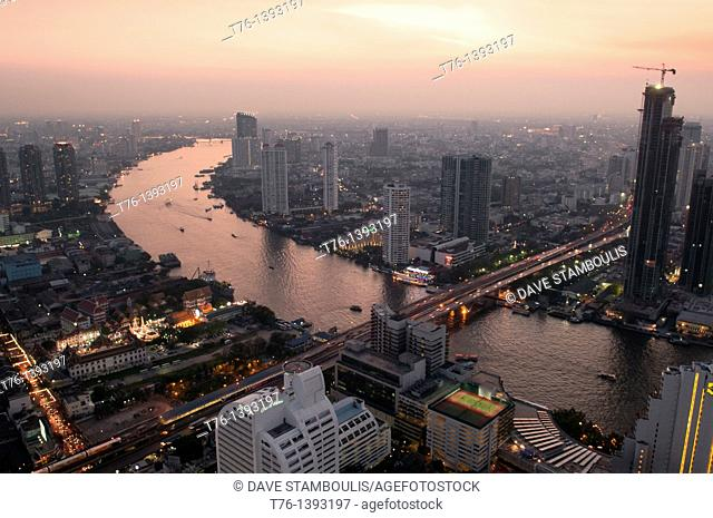 sunset and cityscape of the Chao Phraya River and Bangkok, Thailand