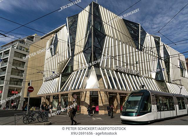 Printemps Department Store and tramway in Strasbourg, Alsace, France