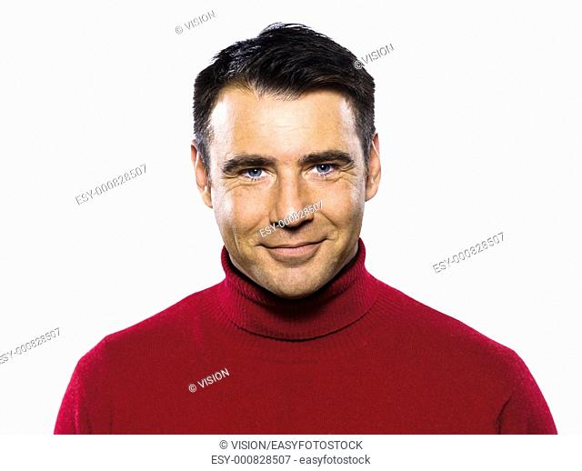 caucasian handsome man studio portrait on isolated white backgound