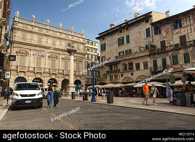 VERONA, ITALY 10 SEPTEMBER 2020: Wide angle view of Piazza delle Erbe in Verona in Italy