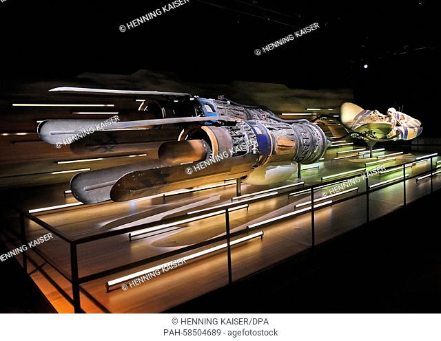 The 'podracer' from film character Anakin Skywalker can be seen during a press tour in the exhibition 'Star Wars Identities' in the Odysseum in Cologne, Germany