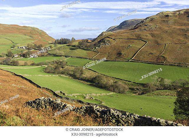 View over the Martindale valley from the northern end of Beda Fell in the Lake District National Park, Cumbria, England
