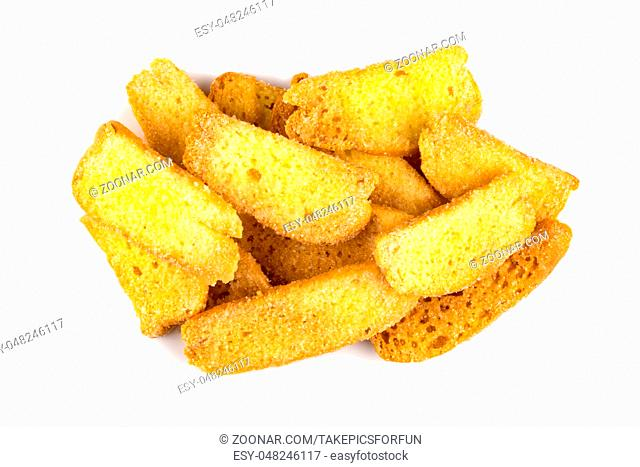 Top view of butter crispy bread topping sugar on white background