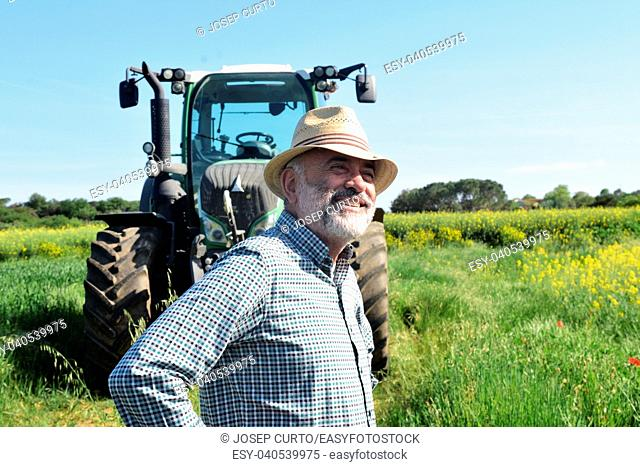 portrait of a farmer on the field.Porqueres, Girona, Catalonia, Spain