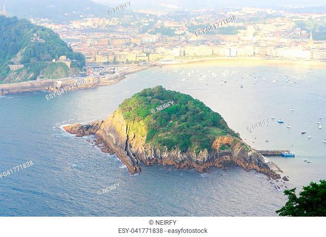 San Sebastian aerial view and island of Santa Clara, Pais Vasco, Spain
