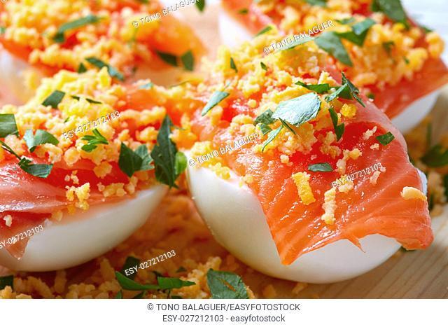 Filled eggs with salmon pinchos tapas from Spain recipes pintxos