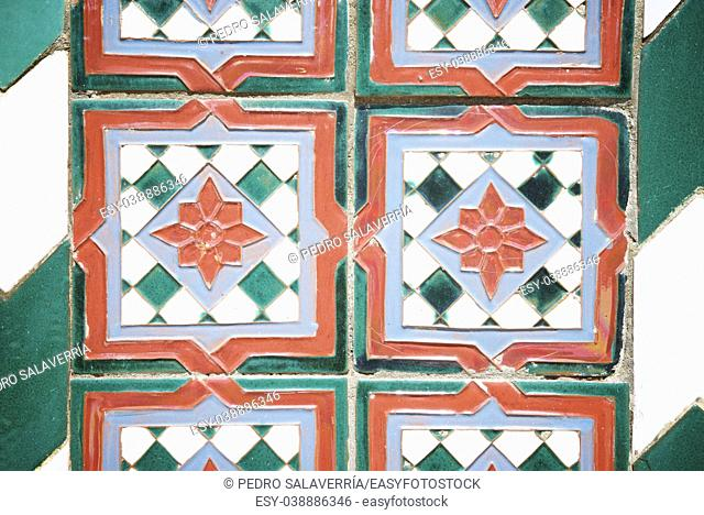Background created by a tiled wall, Teruel, Aragon, Spain