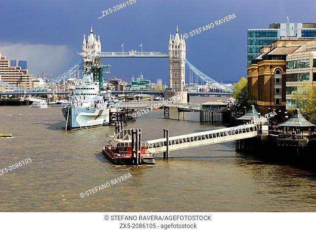 Tower Bridge and HMS Belfast - London, England