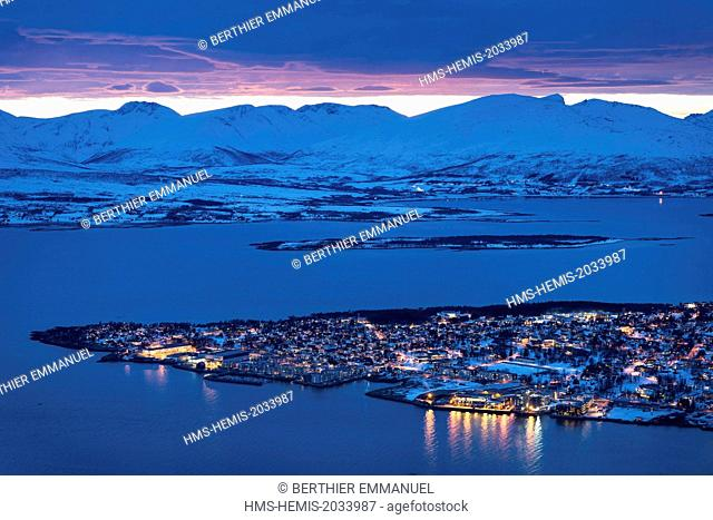 Norway, Lapland, Troms, Tromso, the city at dusk from Mount Storsteinen