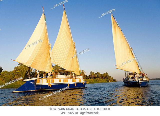 Twin masted large feluccas known as 'sandals'. They were used formerly to carry stones and have been refurbished with  a deck and cabins for sailing cruises on...
