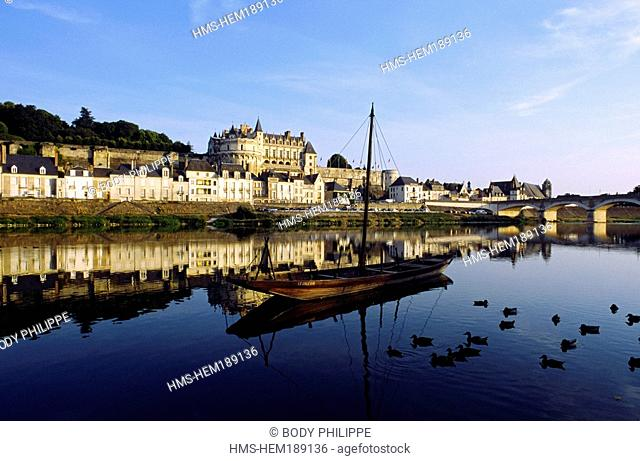 France, Indre et Loire, Loire Valley listed as World Heritage by UNESCO, Amboise, toue cabanee traditional flat boat of Loire River on Loire River