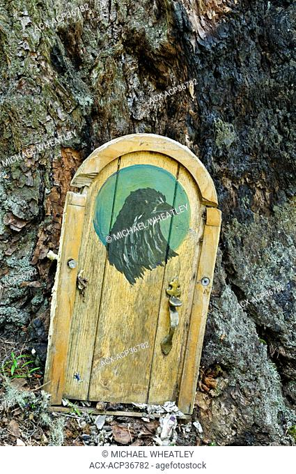 Fairy door, Mount Erskine, Salt Spring Island, British Columbia, Canada